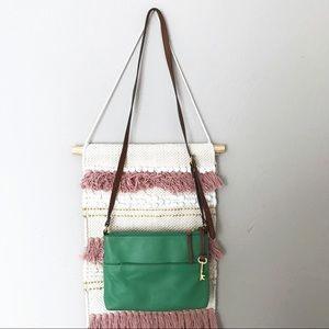 Fossil Leather Adjustable Crossbody Bag Green